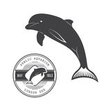 Vector illustration of a dolphin in the old-fashioned style and line-art style. For labels and banners Stock Photo