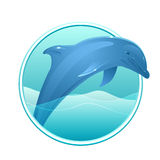 Vector illustration of a dolphin and sea in the circle Royalty Free Stock Image