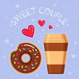 Vector illustration of donut with chocolate glaze, coffee cup, red hearts Stock Photos