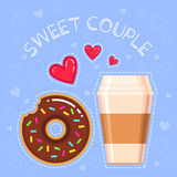 Vector illustration of donut with chocolate glaze, coffee cup, red hearts and text `sweet couple` Royalty Free Stock Photography