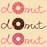 Vector illustration of donut with inscription. Vector illustration of sweet donuts with inscription Royalty Free Stock Photo