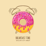Vector illustration of donut with pink cream and outline alarm clock. Stock Photography