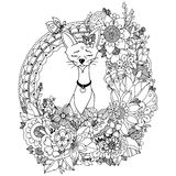 Vector illustration. Doodle drawing Egyptian cat in the floral frame. Coloring book anti stress for adults. Black and stock illustration
