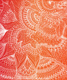 Vector illustration of doodle drawing on the gradient orange. And red background. Abstract white lines, curves and leaves. Vintage backdrop. Hand-drawn texture vector illustration