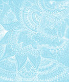 Vector illustration of doodle drawing on the light blue background. Abstract white lines, curves and leaves. Vintage backdrop. Hand-drawn texture Stock Image