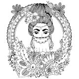 Vector illustration. Doodle drawing Oriental woman in the floral frame. Coloring book anti stress for adults. Black Royalty Free Stock Photo