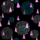 Vector illustration of doodle fir-tree seamless background Stock Photography