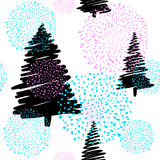 Vector illustration of doodle fir-tree seamless background Stock Image