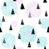 Vector illustration of doodle fir-tree seamless background Royalty Free Stock Photo