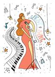 Singing women in red dress. vector illustration