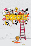 Vector illustration with doodles. Vector illustration with hand drawn doodles royalty free illustration