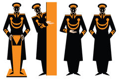 Vector illustration. Doorman. The man in the form of making an inviting gesture. Stock Image