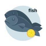 Vector illustration of Dorado fish. Illustration of fish with lemon in cartoon style. Dorado on dish - fresh seafood dinner in restaurant for gourmet. Vector Royalty Free Stock Photos