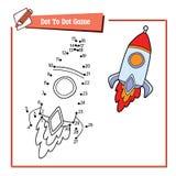 Dot to dot with cartoon rocket vector illustration