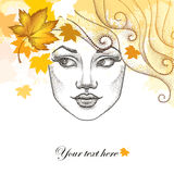 Vector illustration of dotted beautiful girl face with starfish  Royalty Free Stock Photos