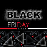 Vector illustration with dotted Black Friday sale inscription in red and white. Design template for banner or poster for sale. Stock Images