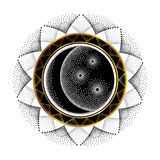 Vector illustration with dotted half moon, star and ornamental round frame in black and gold isolated on white background. Royalty Free Stock Photography