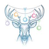 Vector illustration with dotted head deer with antlers and colorful Christmas ball isolated on white background. Royalty Free Stock Photo