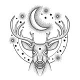 Vector illustration with dotted head deer with antlers, half moon and star in black isolated on white . Astronomy symbols. Stock Image
