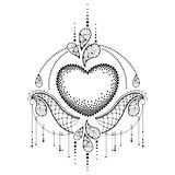 Vector illustration with dotted heart and decorative ornate lace in black isolated on white background. Dotwork design elements. Royalty Free Stock Photography