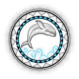 Vector illustration of dotted humpback whale and round mandala in black and blue isolated on white background. Aquatic theme. Royalty Free Stock Photography