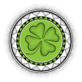 Vector illustration with dotted lucky four leaf clover or shamrock and round mandala in black and green isolated on white. Royalty Free Stock Photo