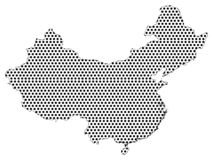 Dotted Pattern Map of China royalty free illustration