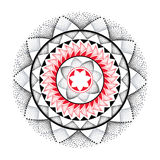 Vector illustration of dotted round mandala in black, gray and red  on white background. Stock Photos