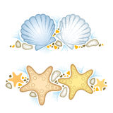 Vector illustration with dotted Starfish or Sea star and Sea shell or Scallop and pebbles isolated on white. stock illustration