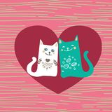 Vector illustration draw character design couple love of cat in valentine day and word love. Eps-8 Royalty Free Stock Image