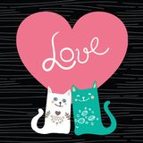 Vector illustration draw character design couple love of cat in valentine day and word love.  Royalty Free Stock Photography
