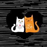 Vector illustration draw character design couple love of cat in valentine day and word love.  Stock Images