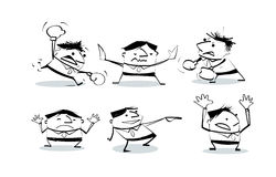 Vector illustration draw doodle cult businessman cartoon pose in various characters. Set of office worker expressing feeling and emotion Stock Image