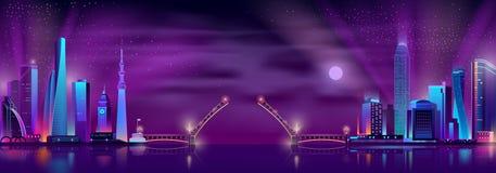 Vector raised drawbridge between two neon megalopolises vector illustration