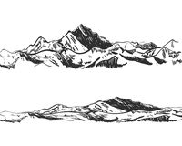 VECTOR illustration: drawings of mountains, drawn nature, landscape, outdoor sketch. VECTOR illustration: drawings of mountains, drawn nature, landscape royalty free illustration