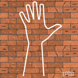 Vector illustration of a drawn chalk on a brown brick wall outline bunch of fives Royalty Free Stock Images
