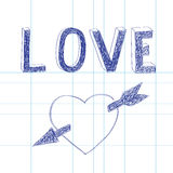 Vector illustration drawn with a pen, love and heart Royalty Free Stock Photography