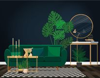 Emerald sofa against a dark blue wall with a mirror. royalty free illustration