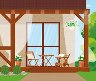 Vector illustration. Veranda with furniture and flowers. Vector illustration is drawn by shape royalty free illustration