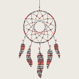 Vector illustration of dream catcher with ethnic patter. Vector colorful illustration of dream catcher with ethnic pattern Royalty Free Stock Photos