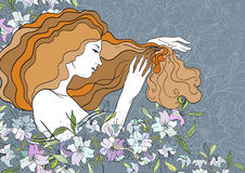 Vector illustration of dreaming beautiful girl with lilies. Stained-glass window style Stock Photography