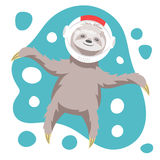 Vector illustration of dreamy happy sloth floating in space Stock Photography