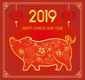 Vector illustration of dreeting card with golden pig. Happy chinese new year 2019 concept. Zodiac sign of pig as a stock illustration