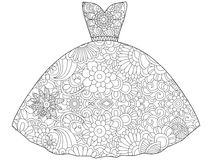 Vector illustration of dress princess coloring book. Anti-stress coloring for adult clothes. Zentangle style fashion. Black and white lines. Lace pattern Royalty Free Stock Photo