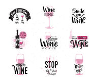 Vector illustration of drink wine related typographic quote. Wine old logo design for vintage kitchen print element with grunge spot, wineglass, bottle, type stock illustration