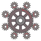 Vector illustration of the driver gear and driven gears. Direction of rotation of driver and driven gear are reversed Royalty Free Stock Photo