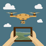 Vector Illustration with drone and remote control on tablet pc Royalty Free Stock Image