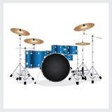Vector Illustration Drum Set Blue Stock Photos