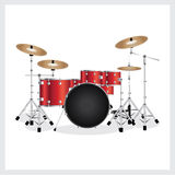 Vector Illustration Drum Set Red Stock Photo