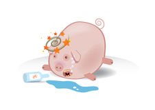 Vector illustration of a drunk piggy Royalty Free Stock Photography